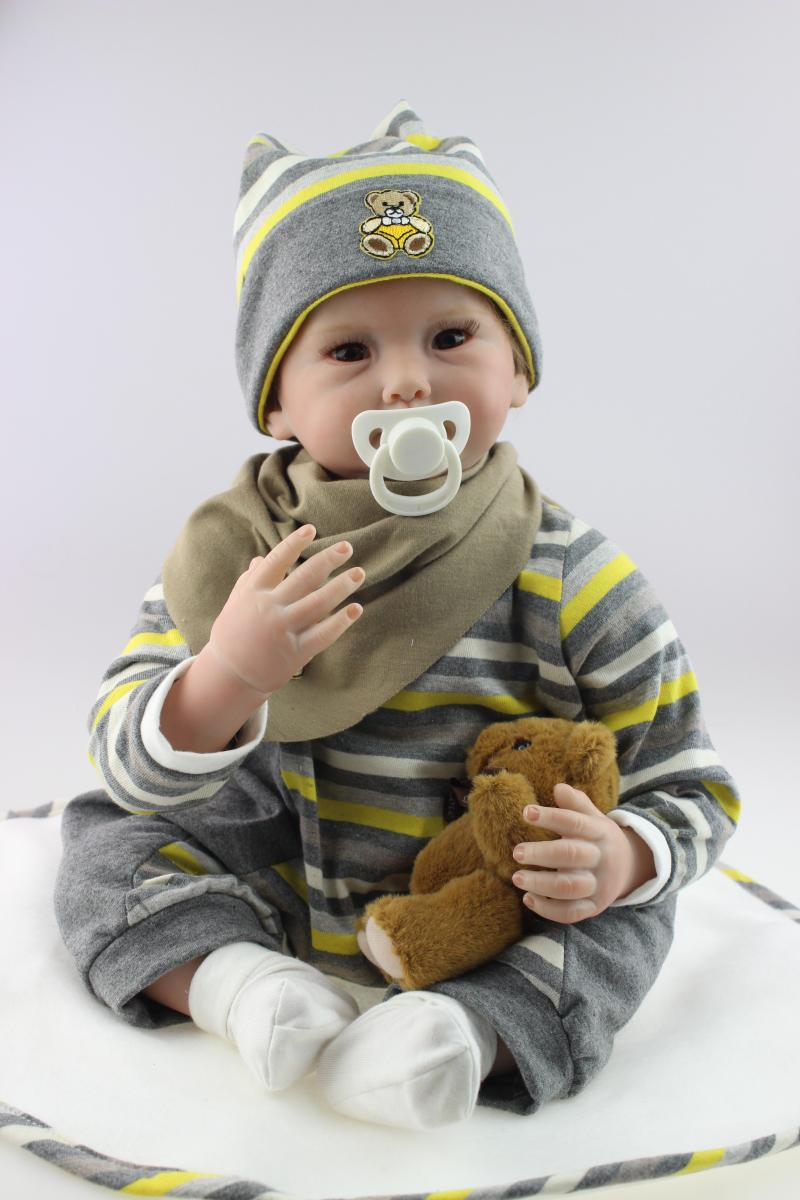 22 Inches Silicone Vinyl Reborn Baby Dolls Boy Smiling