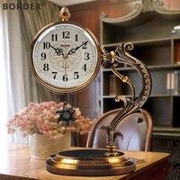 Living room table clock, European retro clock, bedroom mute clock metal table clock.