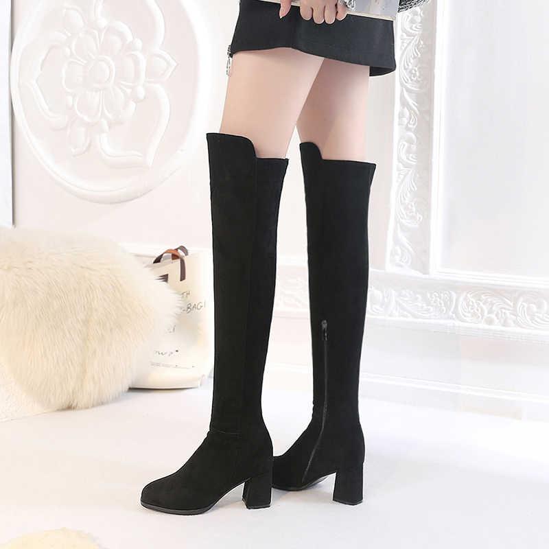 REAVE KEDI Moda Kadınlar Siyah Gri Süet Diz Yüksek Kış Çizmeler Yuvarlak Ayak Kalın Topuk Kadın Uzun Çizmeler Yüksek Kaliteli botas A1132