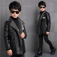 2018 new children's clothing boys fall winter coat thickened coat large children plus velvet leather boy