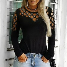 Fashion 2019 Women Summer Leisure Casual Hollow Out T-Shirt Elegant Black Basic Shinny Holiday Tops Studded Long Sleeve Tees
