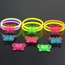 Fluorescence Light Glow Sticks plastic Butterfly Headband Glasses Model Birthday Christmas Party Event Festival Luminous Prop(China)