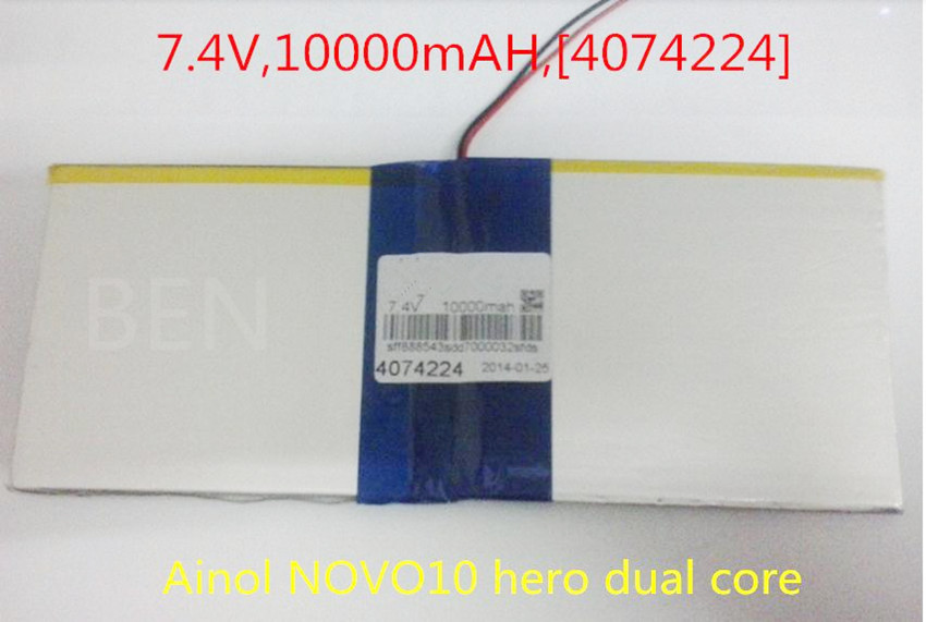7.4V,10000mAH,[4074224] Liter energy batte (polymer lithium ion battery ) Li-ion battery for tablet pc;For hero dual core