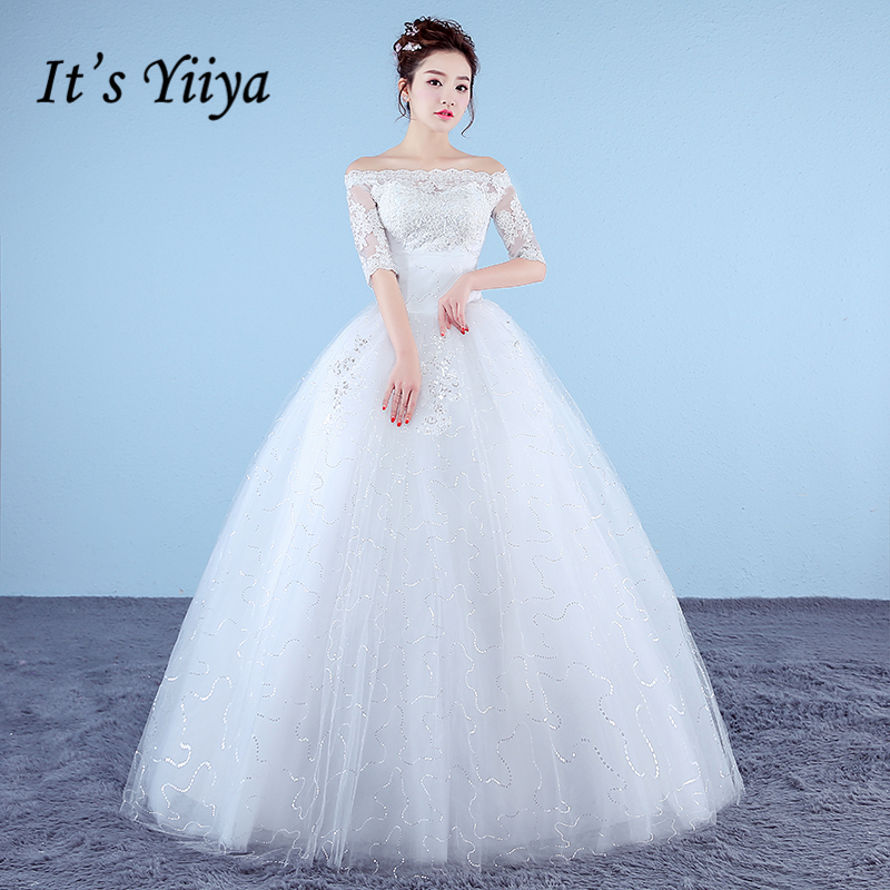 Simple Wedding Dresses Boat Neck: It's Yiiya Plus Size New Boat Neck Half Sleeves Sequins A
