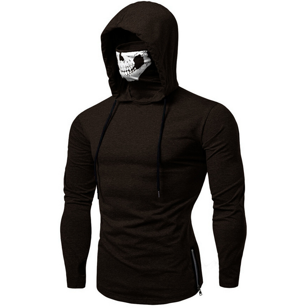 2019 Brand Mens Mask Skull Pure Color Pullover brown Coffee Plus Size 3XL Stylish Hoodies Sweatshirt Tops Blouse #VD267