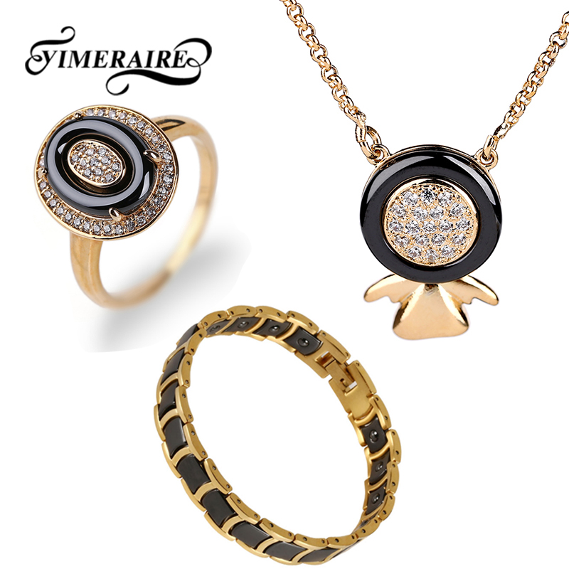 Pendant Necklace Bracelet Ring Healthy Jewelry-Set Ceramic Rhinestone Gold Cubic-Zirconia