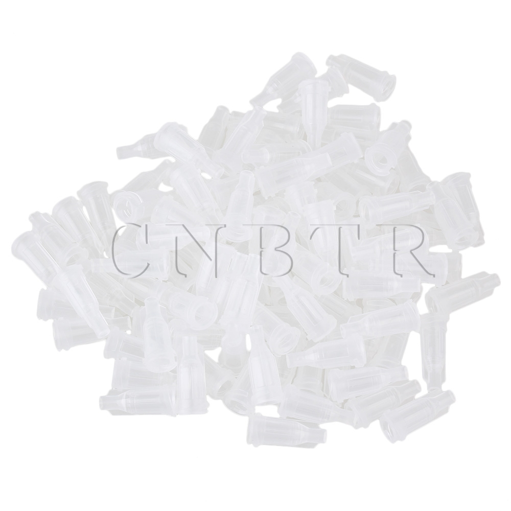 CNBTR 100pcs Transparent Plastic Airtight Industrial Dispensing Syringe Barrel Tip Cap