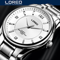 Original Big Dial LOREO Men Watch Luxury Famous Brand Watches Waterproof Men Clock Stainless Steel Wristwatch For Men AB2052