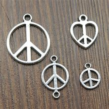50%OFF(10 pcs or more) Peace Charms Pendant Antique Silver Peace Symbol Charm Pendants For Jewelry Making Peace Sign Charms(China)
