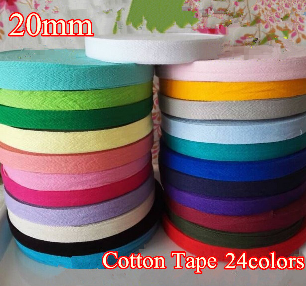 23Colors 20mm x50yard Cotton Webbing Bunting Herringbone Twill Apron Sewing Tape Strip free shipping Wholesale HOT in Webbing from Home Garden