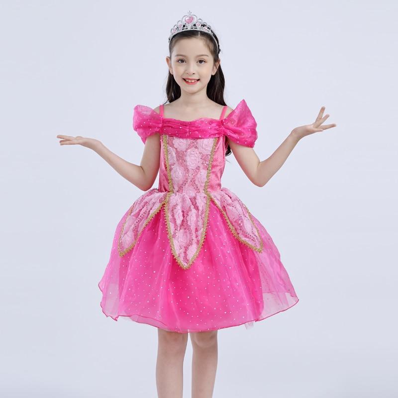 Summer Children Aurora Princess Dress Girl Short Halloween Sleeping Beauty Performance Costume Kids Party Evening formal dress