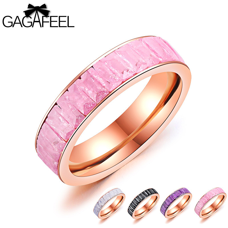 GAGAFEEL Womens Ring Finger Ring Stainless Steel Luxury Rose Gold Color Ring Crystal Female Wedding Party Ring Fashion Jewelry