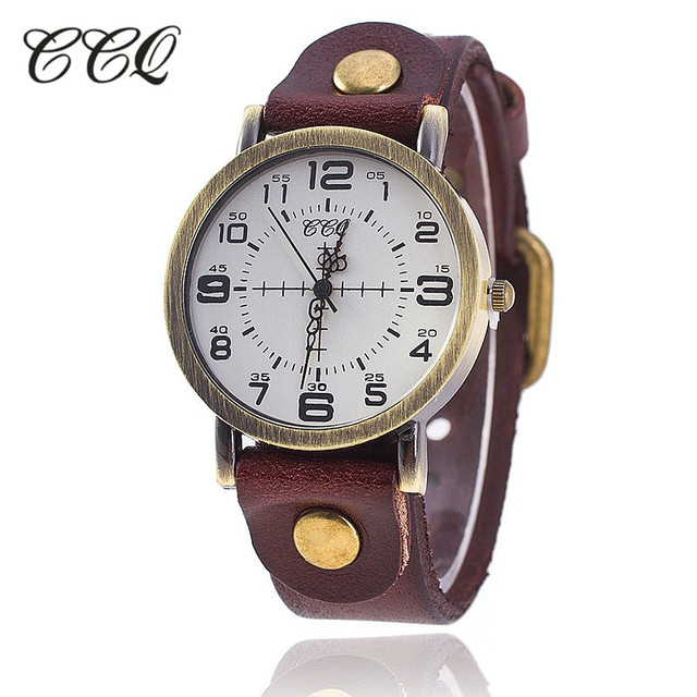 CCQ Brand Vintage Cow Leather Bracelet Watch Women WristWatch Casual Luxury Quar