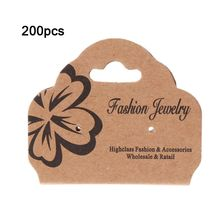 200 Pcs/Set High Quality Paper Brown Card Necklace Bracelet Hair Band Jewelry Packaging Display Hanging Cards