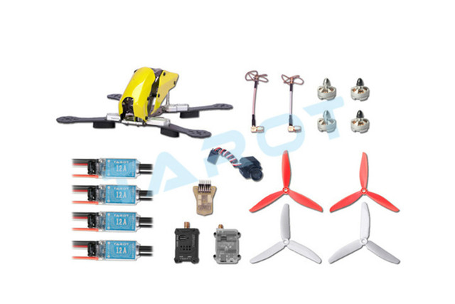 F16517 tarot 250 através de conjunto de combinação quadro de fibra de carbono fpv quadcopter zangão tl250c com mini câmera cc3d esc hélice do motor
