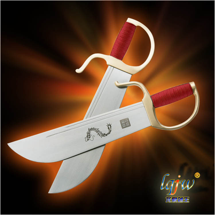 Customized Wing Chun knife /martial knife handle unedged / Genuine sword King/copper fittings unedged button fly asymmetrical skirt