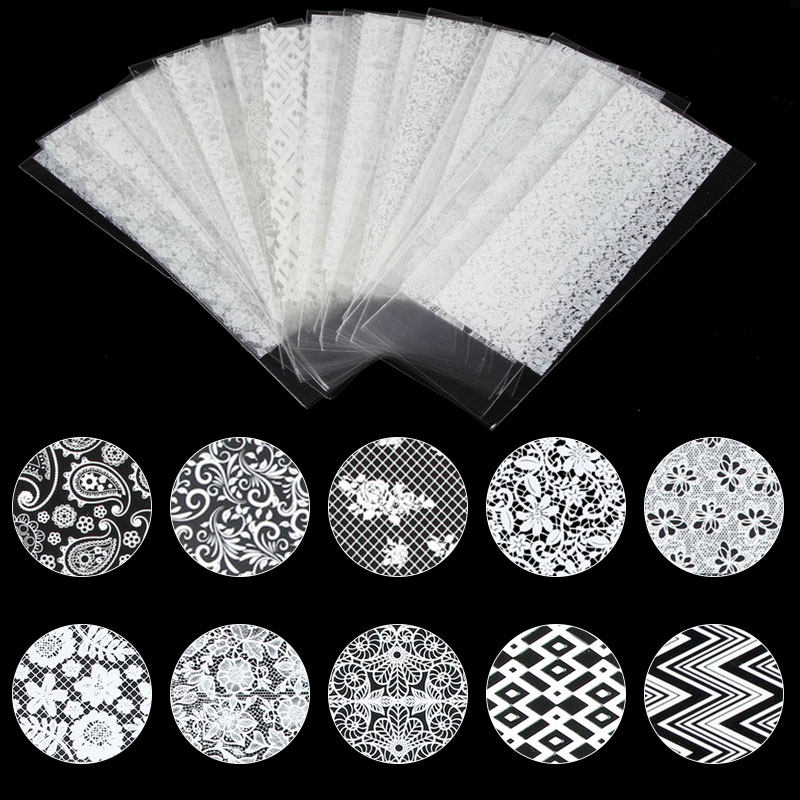 21 Pcs Lot White Lace Nail Sticker Transfer Lace Floral Nail Art Transfer Foil Women Nail Gel Decoration Manicure Tool WY581 in Stickers Decals from Beauty Health