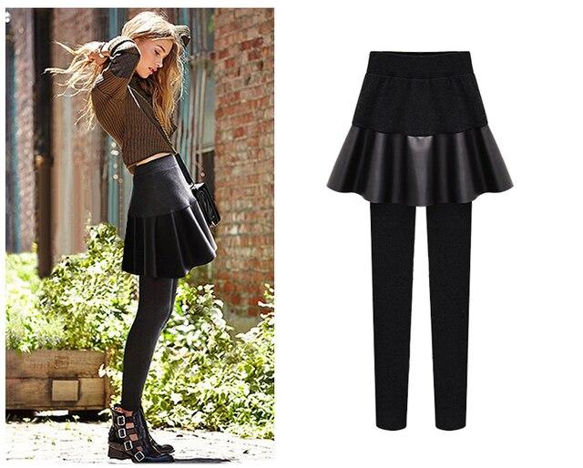 5xl плюс размер брюки женщины весна осень зима 2016 бермуды feminina новый ПУ стежка черные брюки леггинсы женский A1256