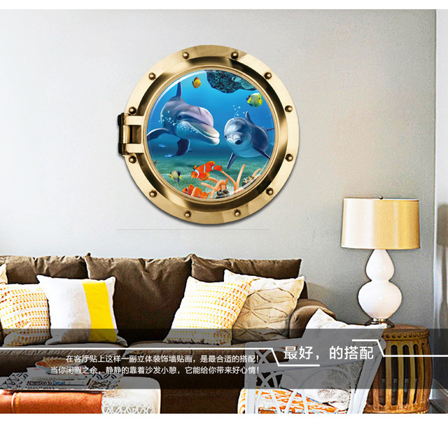 New Design Creative 3D Submarine Window Dolphin Paradise Home Decoration  Wall Stickers Living Room Wall Decals