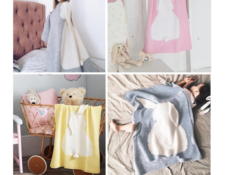 New grey pink Cartoon Plaid Rabbit Ears Childrens/Baby/Kids Cotton Thread Knitted Blanket Throw Bedding Sofa/Air Mantas covers