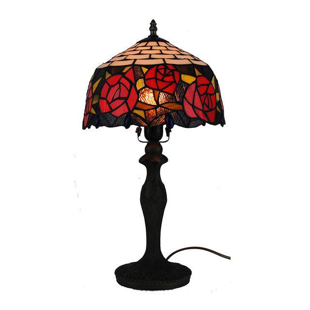 1 light tiffany style stained glass desk lights european retro red 1 light tiffany style stained glass desk lights european retro red rose table lamp vintage handcrafted aloadofball Image collections