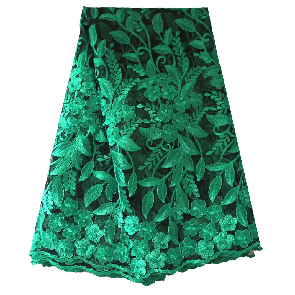 Ourwin French Bead Lace Fabric Green 2019 Latest African Mesh Tulle Lace Fabric 5Y Nigerian Guipure Lace Fabric High Quality