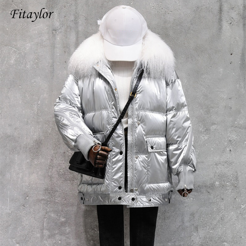 Fitaylor Large Real Fur Collar 2020 Winter Jacket Women 90% White Duck Down Coats Loose Parkas Outerwear Waterproof Jackets