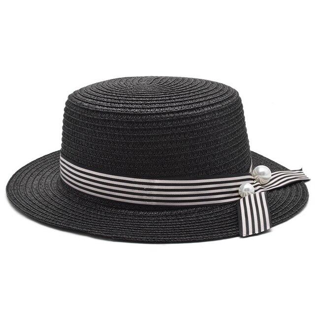 Chapeau de plage pour filles   Chapeau femme décontracté, chapeau dame de marque classique nœud papillon paille, chapeau de soleil plat, Fedora 2018