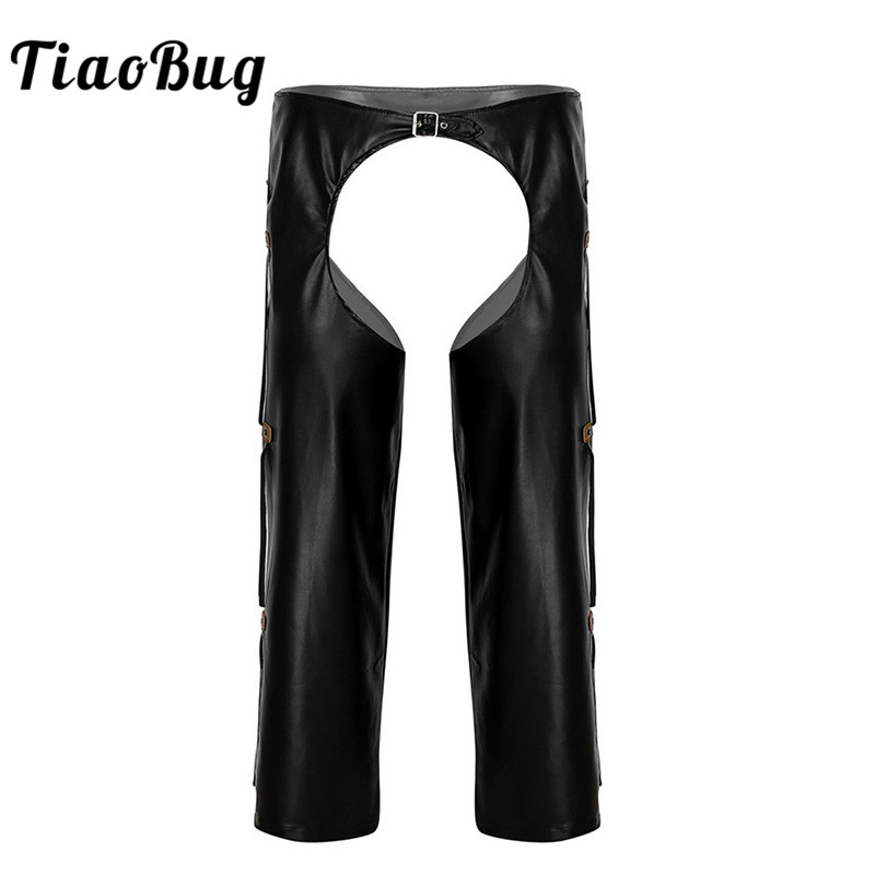 TiaoBug Men Black Faux Leather Crotchless Chaps Wild West Cowboy Sexy Costumes Fringe Buckled Open Crotch Porno Loose Long Pants