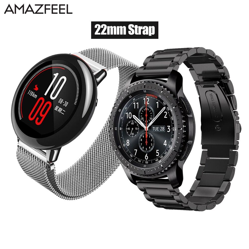 AMAZFEEL 22mm Amazfit correa para Xiaomi Huami Amazfit Pace Stratos 2 Correa de Metal pulsera de acero inoxidable Amazfit 2 banda