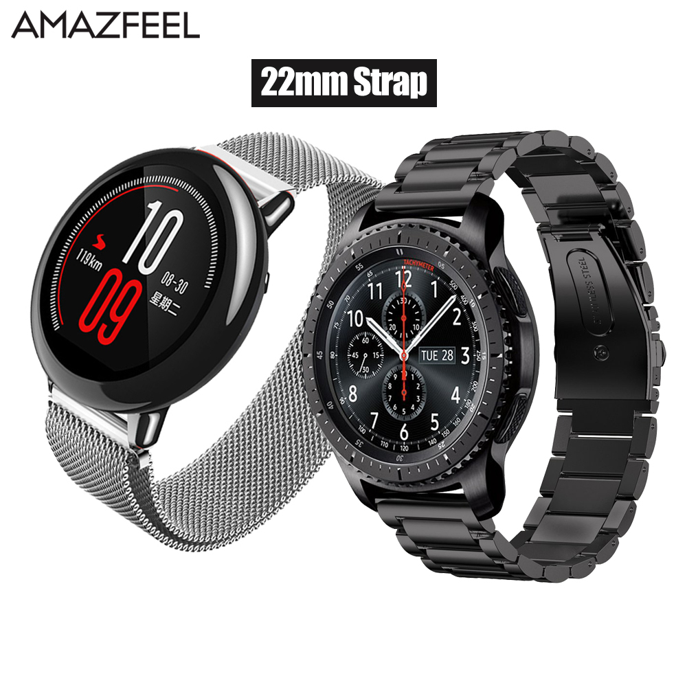 Amazfeel 22mm pulsera para Amazfit Correa Xiaomi Huami Amazfit ritmo Stratos 2 de la correa de Metal pulsera de acero inoxidable Amazfit 2 banda