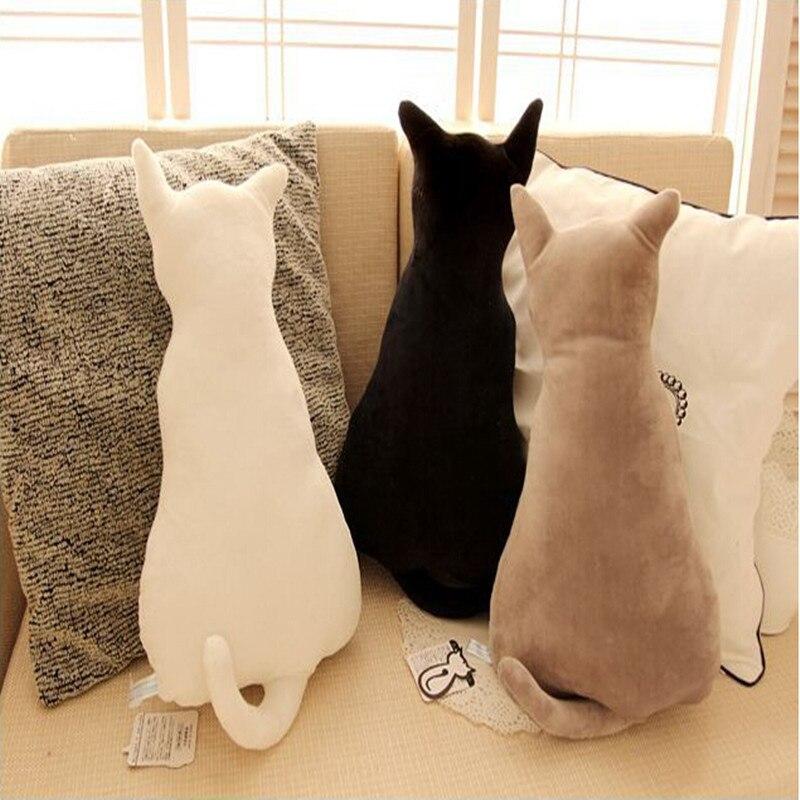 Super bonito macio pelúcia almofada de volta assento do gato sofá travesseiro de pelúcia brinquedo de pelúcia animal boneca cabeça travesseiros criativo presente do ano novo