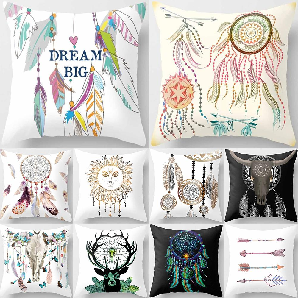1pc Feather Dream Catcher Pattern Pillow Case Peach Skin Cushion Cover Home Sofa Car Cafe Decor Bed Decorative