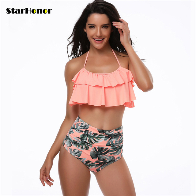 0a7b3067d13 Sexy Halter Floral Bikinis Set High Waist Ruffled Swimsuit Women Polka Dot  Biquini Cross Swimwear Tankini