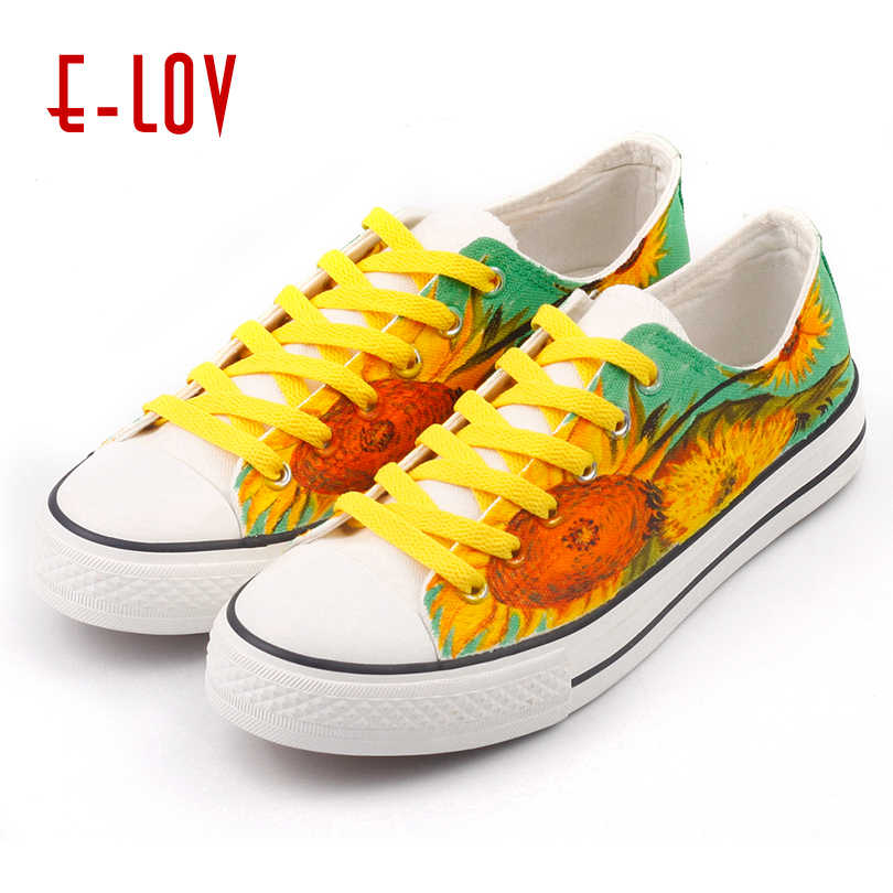 109f3dc7a32 E-LOV Drawing Sunflower Women Flats Hand Painted Van Gogh Painting Fashion  Design Shoes Big