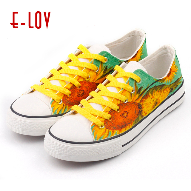 E-LOV Drawing Sunflower Women Flats Hand Painted Van Gogh Painting Fashion  Design Shoes Big Sizes Canvas Sneaker Shoes For Lady c6c76066c