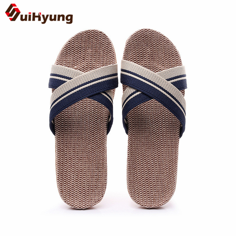 Suihyung Summer Slippers New Women Men Beach Shoes Indoor Breathable Flax Flip Flops Cross-tied Linen Flat Slides Woman Sandals