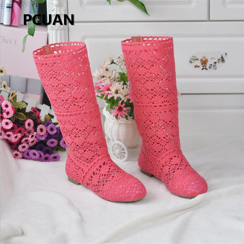 Women's spring high boots wool hollow boots fashion luxury brand summer white lace boots ladies hollow flat casual shoes image