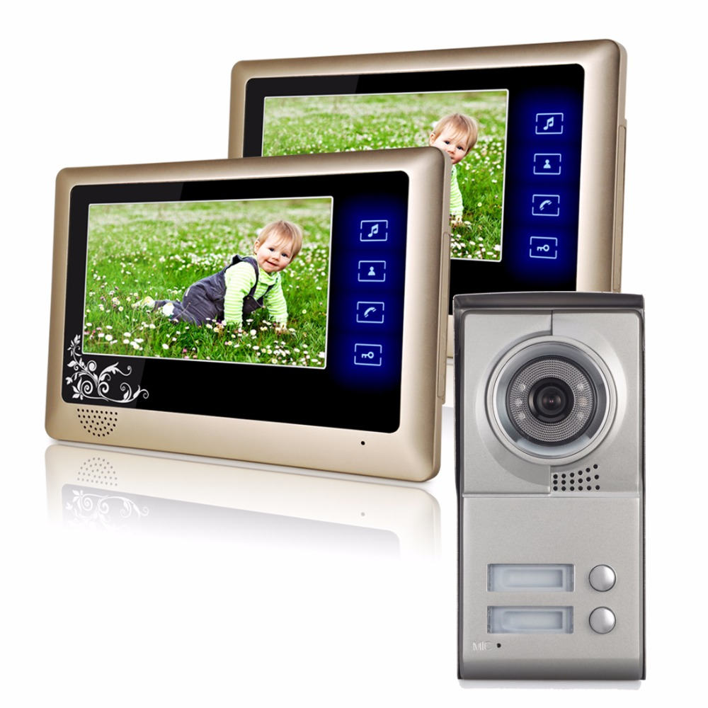 2 Unit 7 inch LCD Apartments Color Video Door Phone Wired Doorbell House Security System 700VL Camera Night Vision & Waterproof homefong security 4 tft lcd screen night vision video door phone intercom doorbell kit hd 800tvl 2 indoor unit 2 outdoor unit