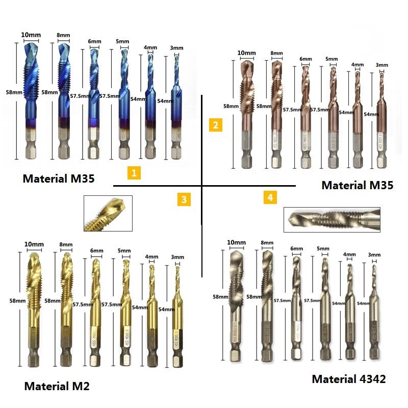 6pcs 1//4 Hex Shank HSS Metric Thread Tap Drill Bits Spiral Trapezoidal Tap Sets
