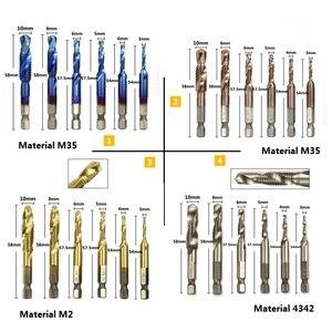 XCAN 6pcs 1/4 Hex Shank HSS metric Thread tap HSS drill bits spiral trapezoidal tap Hand Screw Taps M3 M4 M5 M6 M8 M1O tap sets