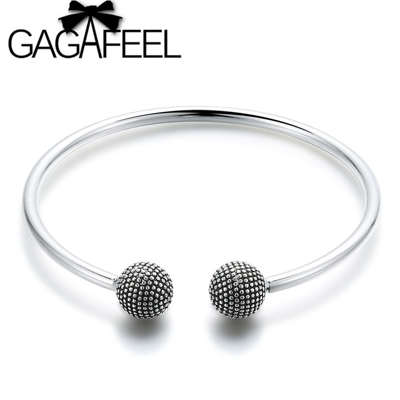 GAGAFEEL 3mm European Round Charm Bead Bangles Bracelets Silver Color Elegant Women Bangle Fashion Jewelry