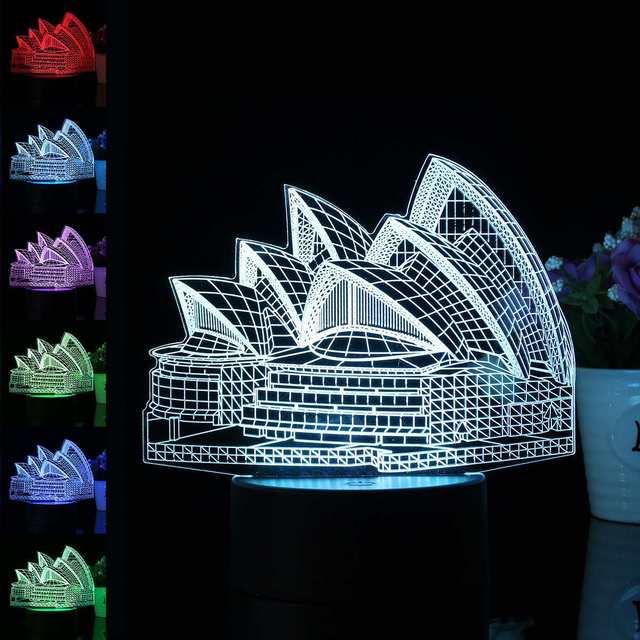 Sydney Opera House 3D LED Illusion Night Light 7 Color Changing ...