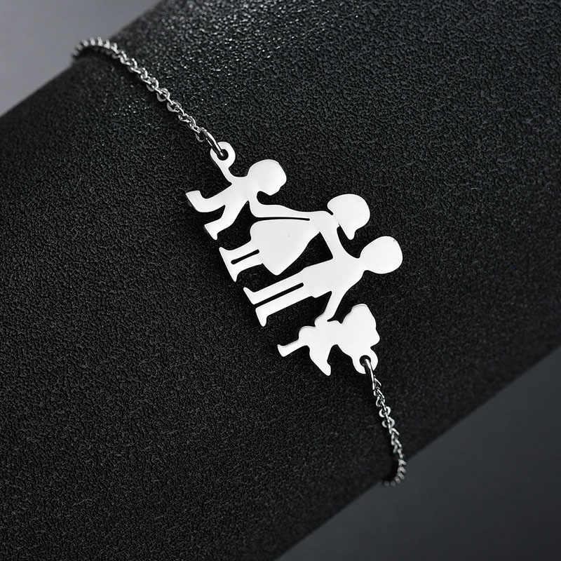 MENSAZONE Famiglia Amore bracciale In Acciaio Inossidabile Della Ragazza del Ragazzo Mama E Papà Bambino Bello Del Braccialetto Per Le Donne Regalo Di Compleanno