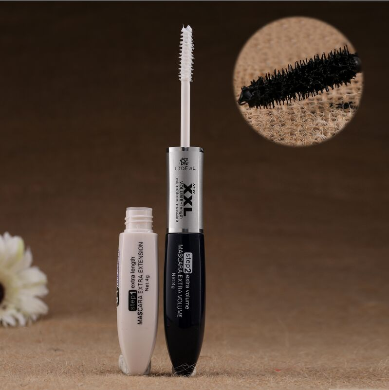 1Pcs Makeup 2 IN 1 4D Silk Fiber Mascara Long Eyelash Curling Lengthening Double Extension Black White XXL Mascara Cosmetic