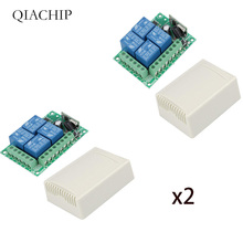 цена QIACHIP 433Mhz Universal Wireless Remote Control Switch DC 12V 4 CH RF Relay Receiver Module For Smart Home Garage Gate 433 Mhz