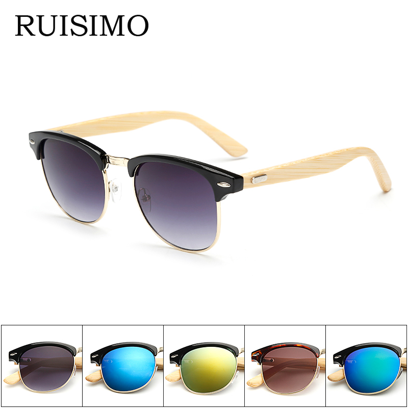New 2016 Bamboo Sunglasses Men Wooden half frame Women Brand Designer Mirror Original Wood Sun Glasses retro de sol masculino