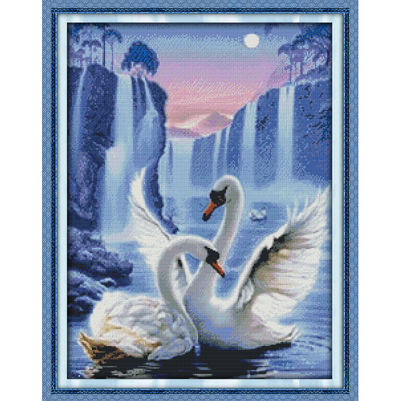 Forceful Everlasting Love Love Of Swan Chinese Cross Stitch Kits Ecological Cotton Stamped 14 11ct Diy Gift New Year Decorations For Home Modern Techniques Cross-stitch