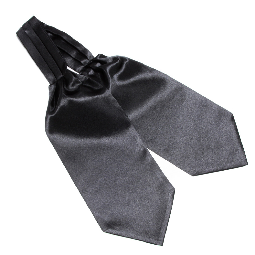 HOOYI 2019 Solid Color Black Silk Cravat Adult Casual Ties For Men Nice Gift Ascot Wedding