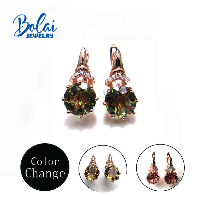 Bolai,Color change turkey zultanite Claps earrings round 8.0mm created gemstone jewelry 925 sterling silver for women  best gift